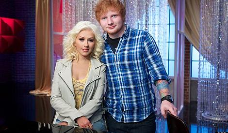 Christina em The Voice com Ed Sheeran