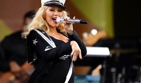 Christina no palco do festival de Jazz de Nova Orleans